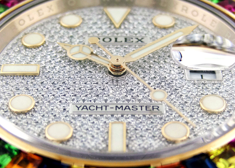 ロレックス 116695SATS オイスターパーペチュアル ヨットマスター RG ダイヤ文字盤 自動巻き ラバー【委託品】