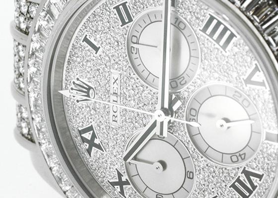【中古】ロレックス 116599TBRZER コスモグラフデイトナ ベゼルバゲットダイヤモンド WG ダイヤ文字盤 自動巻き レザー