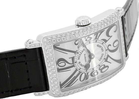 フランクミュラー 902QZD レディース ロングアイランド ダイヤモンドベゼル SS シルバー文字盤 クォーツ レザー