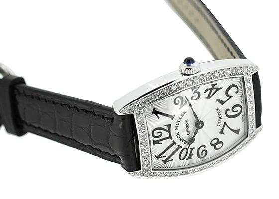 フランクミュラー 1752QZDP レディース トノーカーベックス 一重ダイヤモンド SS シルバー文字盤 クォーツ レザー