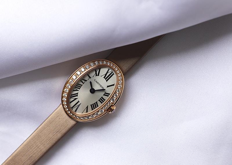 カルティエ WB520028 レディース ミニ ベニュワール ダイヤモンドベゼル PG シルバー文字盤 クォーツ トワル