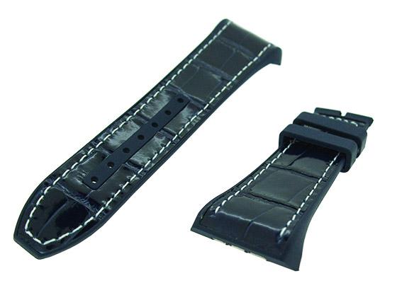フランクミュラー レザーストラップ V45用 ラバー/アリゲーター ブルー(艶有) 白ステッチ 29-20mm