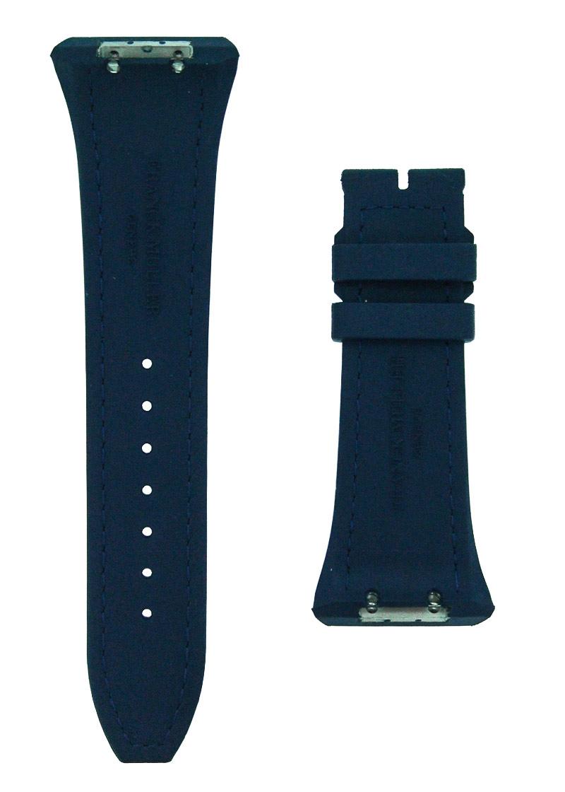 フランクミュラー レザーストラップ V45用 ラバー/アリゲーター ブルー(艶有) 29-20mm