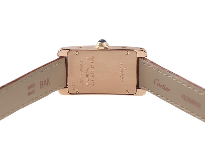【中古】カルティエ W2607456 タンクアメリカン SM RG シルバー文字盤 クォーツ レザー
