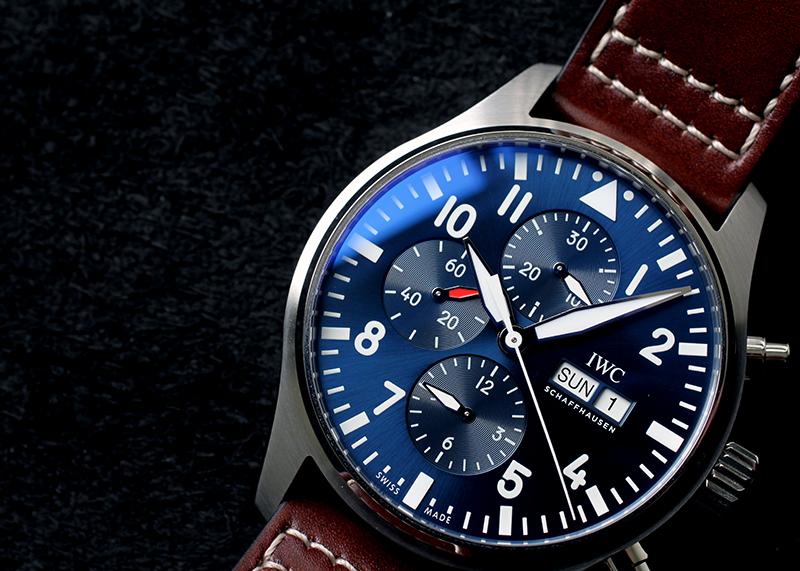 IWC IW377714 パイロットウォッチ クロノグラフ プティプランス SS ブルー文字盤 自動巻き レザー