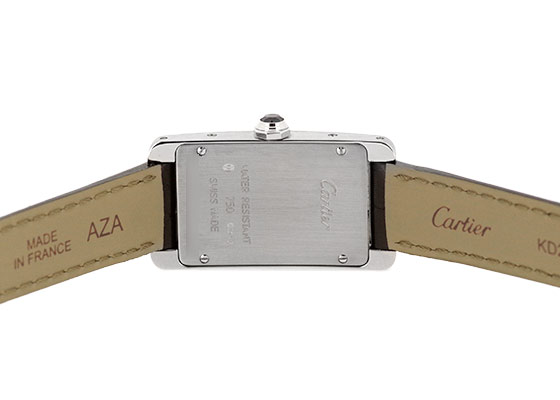 【中古】 カルティエ W2601956 レディース タンクアメリカン SM WG シルバー文字盤 クォーツ レザー