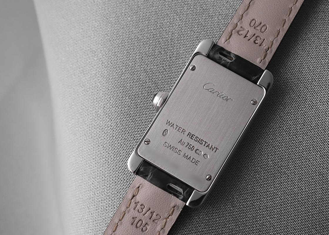 【中古】カルティエ W2601956 タンクアメリカン SM WG 白文字盤 クォーツ レザー