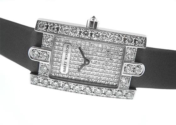 【中古】ハリーウィンストン AVEQHM21WW034 アヴェニュー WG 全面ダイヤ文字盤 クォーツ サテン