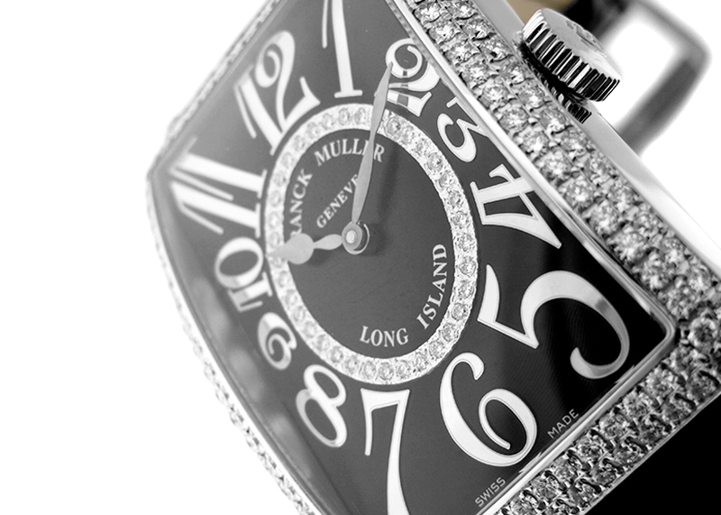 【中古】 フランクミュラー 1200SCD CD1R ロングアイランド レリーフ ダイヤモンドベゼル WG 黒文字盤 自動巻き レザー【委託品】