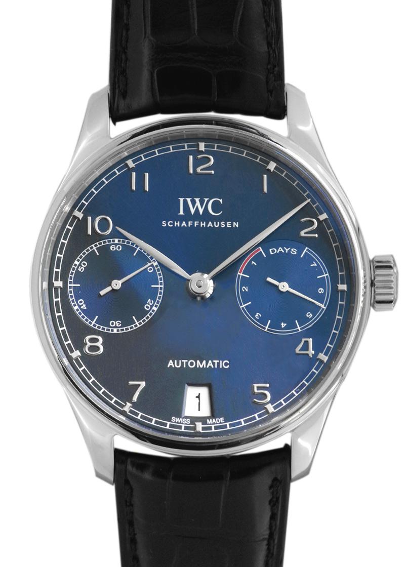 【未使用品】IWC IW500710 ポルトギーゼ・オートマティック 7DAYS SS ブルー文字盤 自動巻き レザー