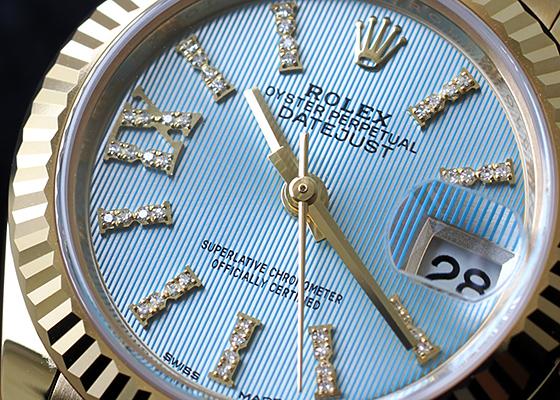 【中古】ロレックス 279178 レディース オイスター パーペチュアル レディ デイトジャスト 28 YG コーンフラワーブルー文字盤 自動巻き ブレスレット