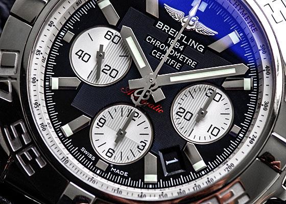 【中古】ブライトリング A011B67RPR(AB0110) クロノマット44 SS 黒/シルバー文字盤 自動巻き レザー
