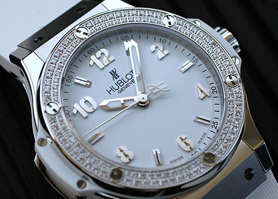 ウブロ 361.SE.2010.RW.1104 レディース ビッグバン スチール ホワイトダイヤモンド SS 白文字盤 クォーツ ラバー