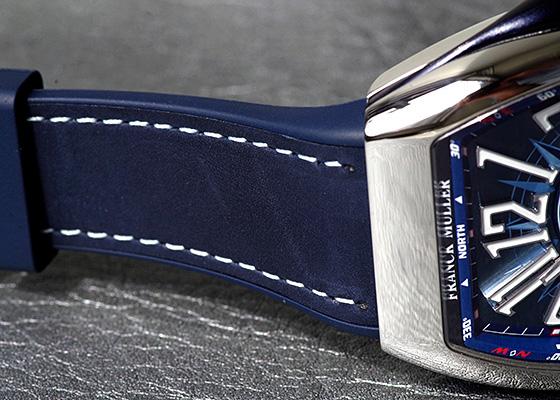 フランクミュラー V45SCDT YACHTING ヴァンガード デイト ヨッティング SS ブルー文字盤 自動巻き レザー/ラバー