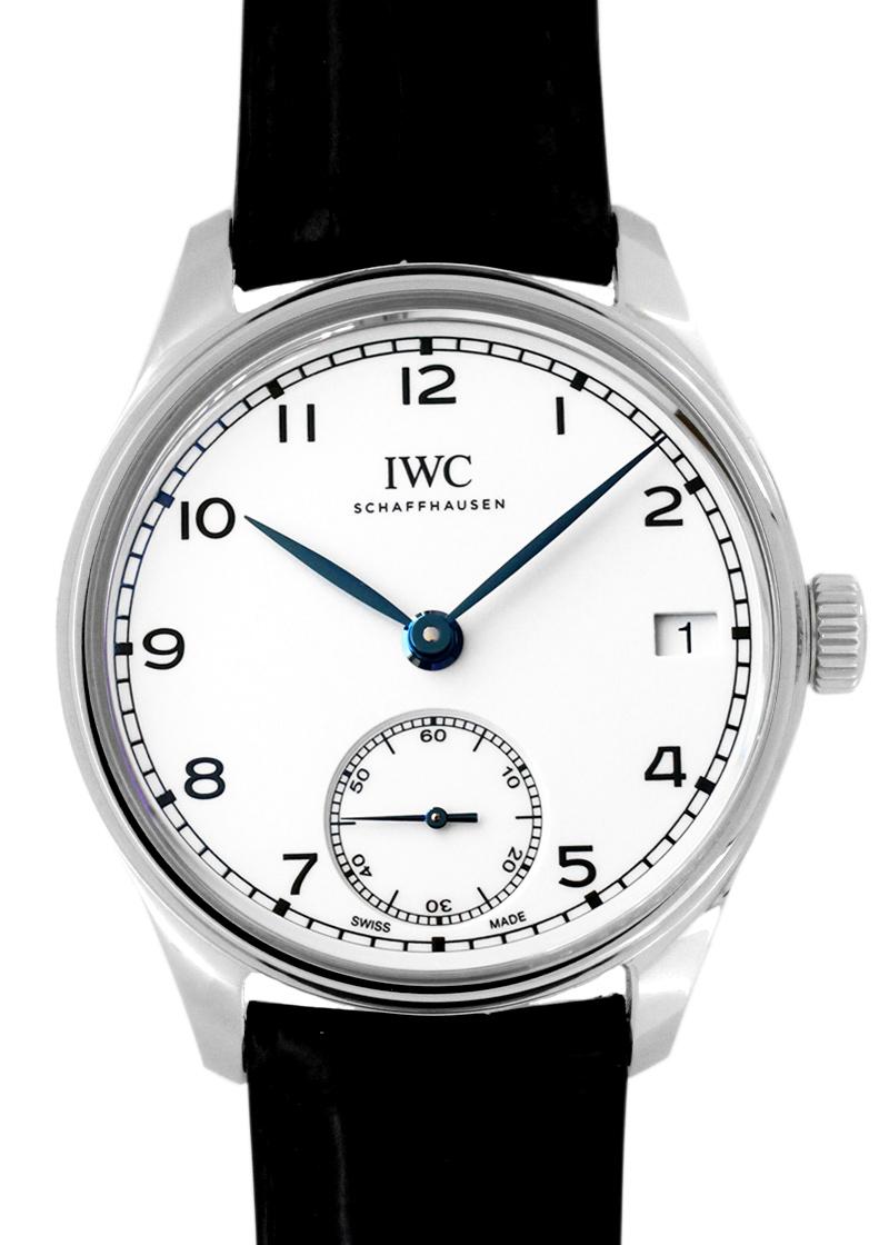 IWC IW510212 ポルトギーゼ・ハンドワインド・エイトデイズ  150 イヤーズ SS 白文字盤 手巻き レザー