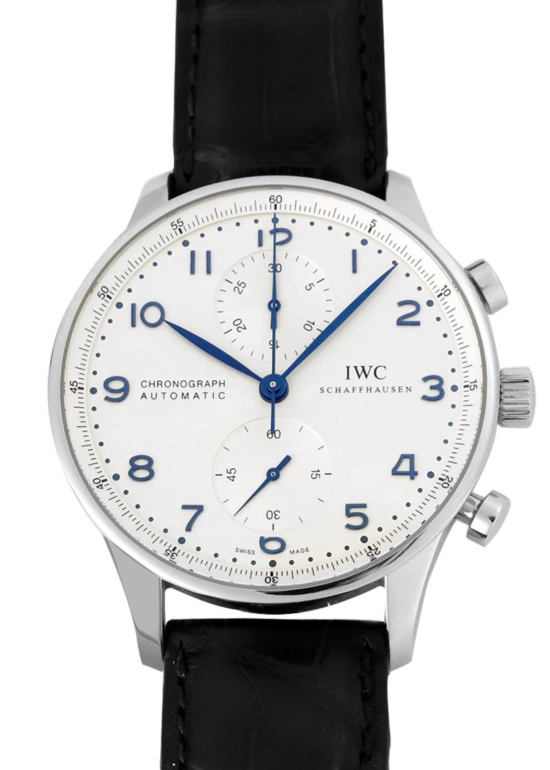 【入荷予定】IWC IW371446 ポルトギーゼ クロノグラフ SS シルバー文字盤/青針 自動巻き レザー【中古】