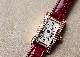 カルティエ WB710014 レディース タンクアメリカン ミニ ダイヤモンドベゼル PG シルバー文字盤 クォーツ レザー