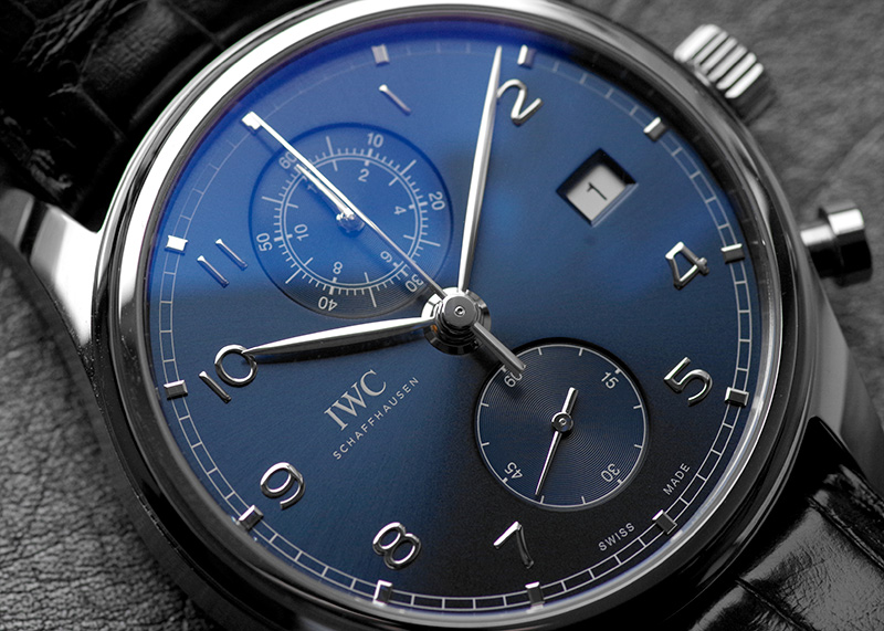 【未使用品】IWC IW390303 ポルトギーゼ クロノグラフ クラシック SS ブルー文字盤 自動巻き レザー【訳あり新品】