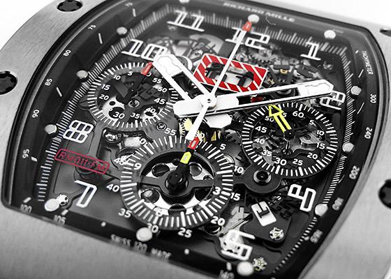 【中古】リシャールミル RM011 オートマティック フライバック クロノグラフ フェリペマッサ TI スケルトン文字盤 自動巻き ラバー