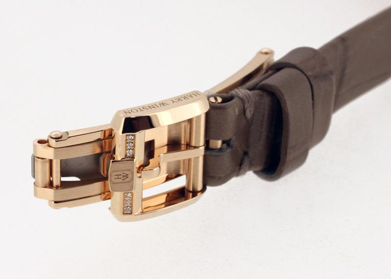 ハリーウィンストン AVCQMP16RR004 アヴェニューC ミニ・ムーンフェイズ RG ダイヤ/シェル文字盤 クォーツ レザー