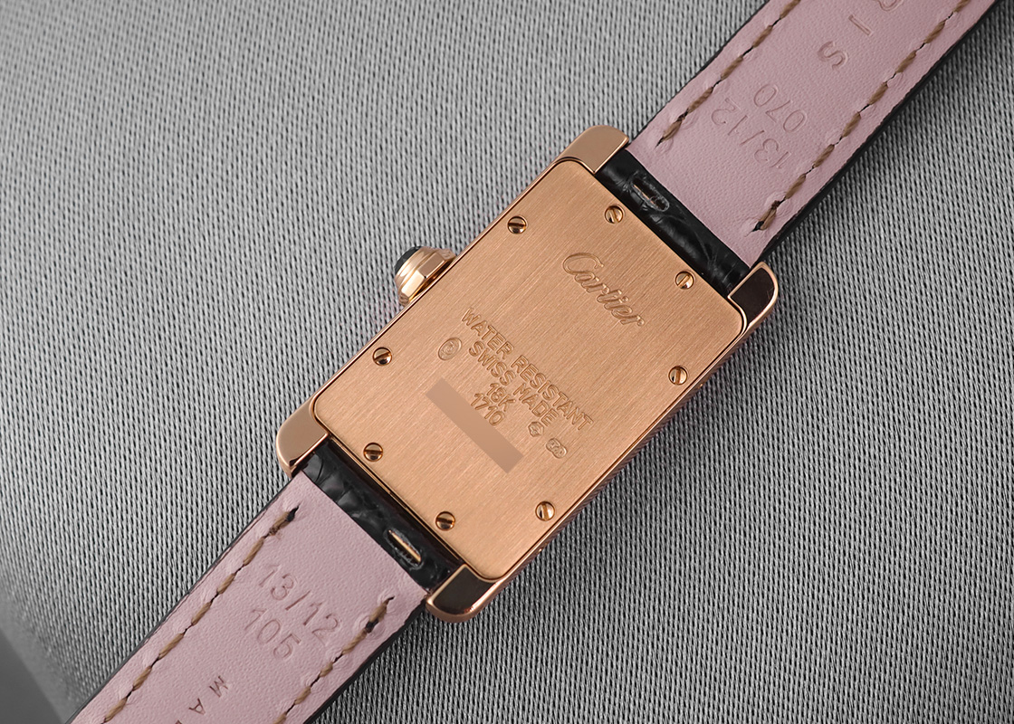 【中古】カルティエ W2601556 タンクアメリカン SM YG 白文字盤 クォーツ レザー