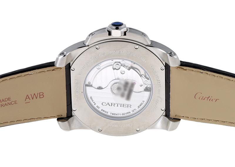 【未使用品】カルティエ W7100039 カリブルドゥカルティエ PG&SS シルバー文字盤 自動巻き レザー【委託品】