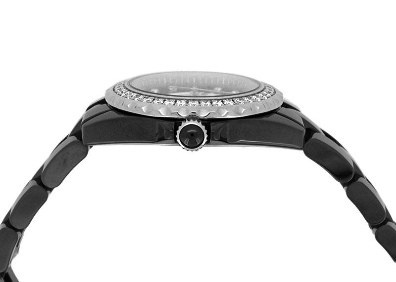 シャネル H3108 レディース J12 ダイヤモンドベゼル 33mm CE 黒文字盤/8Pダイヤモンド クォーツ ブレスレット