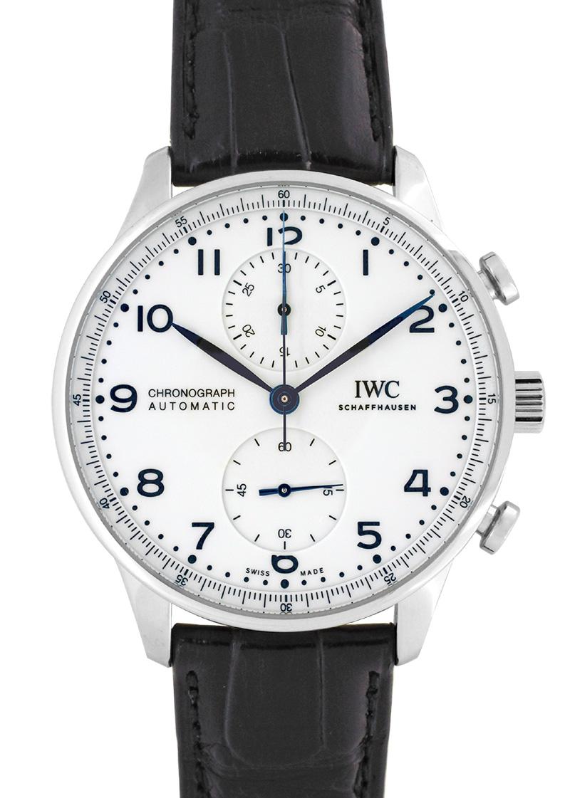【未使用品】IWC IW371602 ポルトギーゼ クロノグラフ 150イヤーズ SS 白文字盤/青針 自動巻き レザー