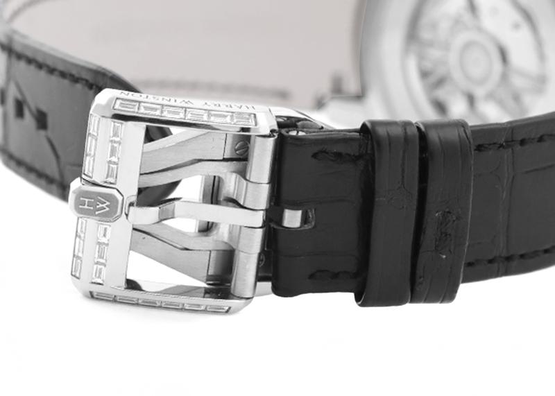 【訳あり未使用品】ハリーウィンストン OCEAHR42WW001 オーシャン レトログラード オートマティック 42mm バゲットダイヤバージョン WG スケルトン文字盤 自動巻き レザー