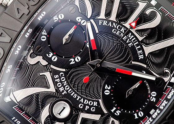 フランクミュラー 9900CC DT GPG コンキスタドール グランプリ クロノグラフ TI 黒文字盤 自動巻き レザー