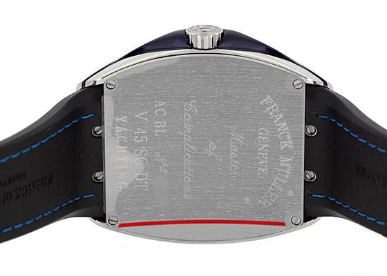 フランクミュラー V45SCDT YACHTING ヴァンガード デイト ヨッティング SS ブルー文字盤 自動巻き ファブリック/ラバー(黒)