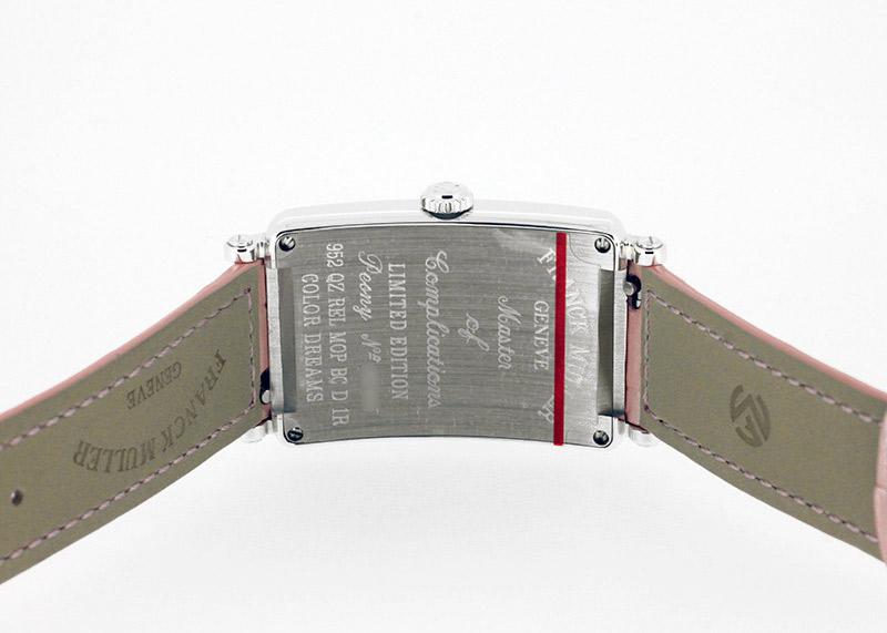 フランクミュラー 952QZ REF D1R ロングアイランド レリーフ ピアニー SS シェル文字盤 クォーツ レザー
