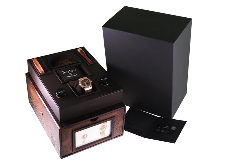 【中古】ウブロ 505.OX.0500VR.BER17 クラシックフュージョン トゥールビヨン 5デイ パワーリザーブ ベルルッティ スクリット RG ブラウン文字盤 手巻き レザー