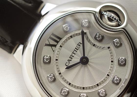 カルティエ W4BB0008 レディース バロンブルーSM SS シルバー/11Pダイヤ文字盤 クォーツ レザー