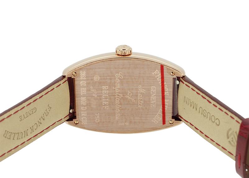 フランクミュラー 2852QZ REL D1R CD8 トノーカーベックス レリーフ 8ダイヤ PG シェル文字盤 クォーツ レザー