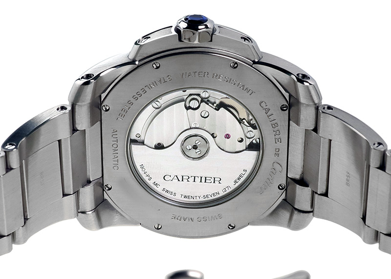 【中古】カルティエ W7100015 カリブルドゥカルティエ SS シルバー文字盤 自動巻き ブレスレット
