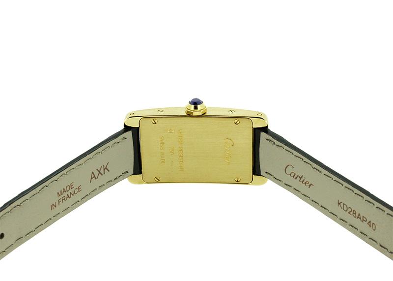 【中古】カルティエ W2601556 レディース タンクアメリカンSM YG シルバー文字盤 クォーツ レザー