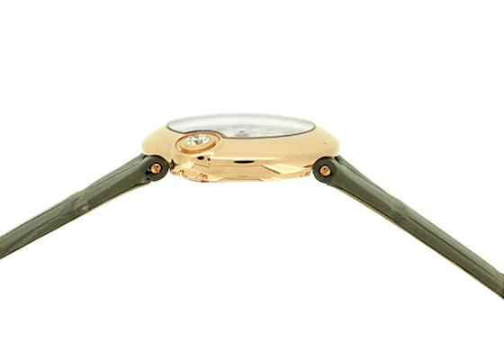 カルティエ WGBL0004 レディース バロン ブラン ドゥ カルティエ 26MM PG シルバー文字盤 クォーツ レザー