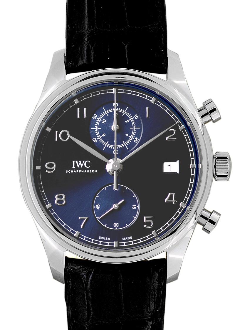 IWC IW390303 ポルトギーゼ クロノグラフ クラシック SS ブルー文字盤 自動巻き レザー【新品・展示品】