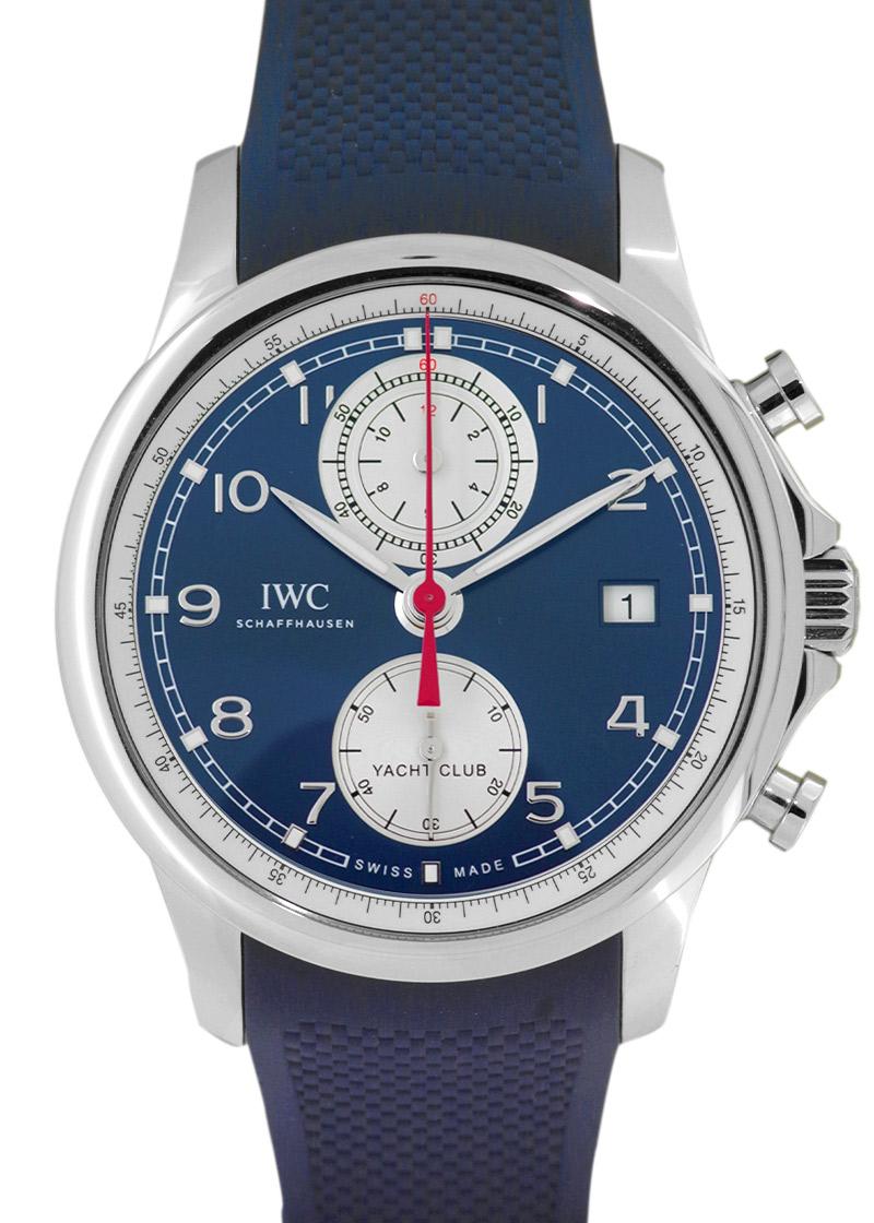 IWC IW390507 ポルトギーゼ ヨットクラブ クロノグラフ SS ブルー文字盤 自動巻き ラバー