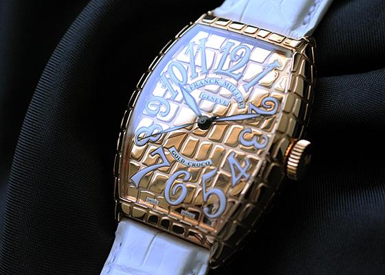 【日本未発売モデル】 フランクミュラー 5850SC GOLD CRO トノーカーベックス ゴールドクロコ PG ゴールド文字盤 自動巻き レザー