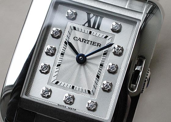 カルティエ W4TA0003 レディース タンクアングレーズ SM SS シルバー文字盤 クォーツ ブレスレット