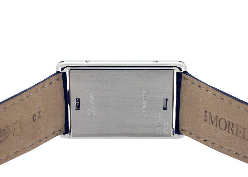 【中古】カルティエ W1011358 タンクバスキュラント LM SS 白文字盤 手巻き レザー