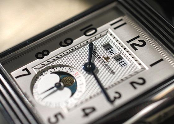 【中古】ジャガールクルト Q3758420 グランドレベルソ カレンダー SS シルバー文字盤 手巻き レザー