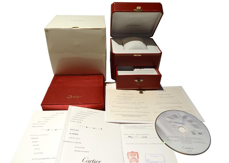 【中古】カルティエ WB520028 ミニ ベニュワール ダイヤモンドベゼル PG シルバー文字盤 クォーツ レザー