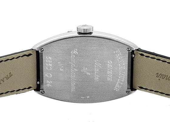 【中古】フランクミュラー 5850Q24 トノーカーベックス ポインターデイト PT シルバー文字盤 自動巻き レザー