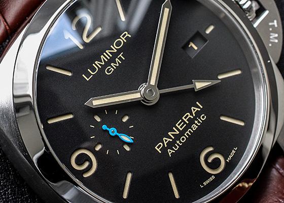 【未使用品】オフィチーネ パネライ PAM01320 ルミノール 1950 3デイズ GMT オートマティック アッチャイオ SS 黒文字盤 自動巻き レザー