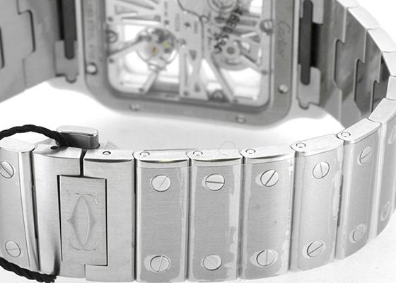カルティエ WHSA0007 サントス ドゥ カルティエ スケルトン ウォッチ LM SS スケルトン文字盤 手巻き ブレスレット/レザー
