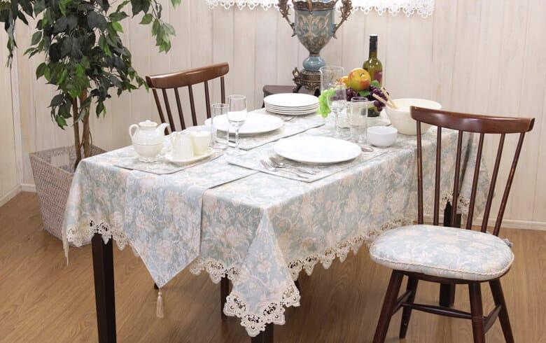Turquoise 撥水加工ジャカード織 テーブルクロス 約130×170cm