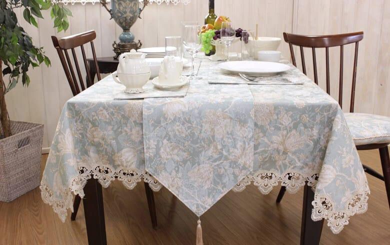 Turquoise 撥水加工ジャカード織 テーブルランナー 約30×180cm
